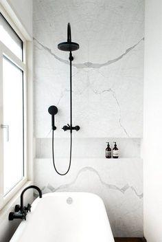 Black & White Marble bathroom renovation // black shower fixtures // clean, crisp, modern – Home Renovation Bathroom Trends, Kitchen Trends, Bathroom Interior, Modern Bathroom, Serene Bathroom, Bathroom Ideas, Shower Ideas, Minimal Bathroom, Bathroom Designs