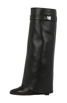 """Free shipping and returns on Givenchy Shark-Tooth Pant-Leg Knee Boot (Women) at Nordstrom.com. <p><b style=""""COLOR:#990000"""">Pre-order this style from the Pre-Spring/Resort 2016 collection! Limited quantities. Ships as soon as available. You'll be charged only when your item ships.</b></p><br />Sleek and seriously stylish, these supple calfskin leatherboots feature a signature shark lock, almond toe and concealed wedge. Band detailing down the back highlights the long line of this modern…"""