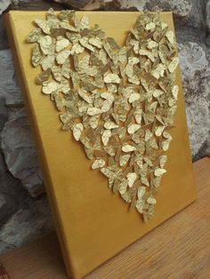 RESERVED for Danae – Romantic Gold Butterfly Heart /Butterfly Art / Wedding Gift / Anniversary / Anniversary / Housewarming Thinking about this for my parent's wedding anniversary (Best Wedding and… Anniversary Plans, Paper Anniversary, Anniversary Parties, Golden Wedding Anniversary, Anniversary Decorations, Butterfly Art, Butterflies, 50th Birthday, Party Time