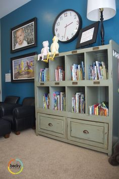 cute playroom at becky higgins' house. i love the blue on the wall. more pictures on her page.