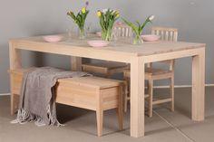 Koivupöytä 195x100 cm tolppajaloilla ja penkkiarkku. Decor, Furniture, Dining, Dining Table, Table, Home Decor