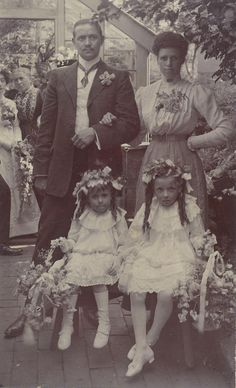 Victorian group photograph possibly of a bride and groom with their bridesmaids. Circa 1890.