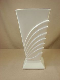 "RumRill 701 White Aqua Deco Wings Vase 9"" Footed Flared Made by Red Wing"