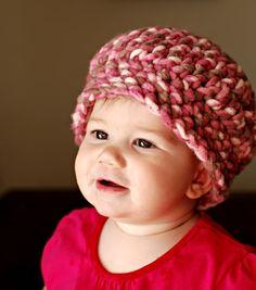 Crochet: Strawberry Beanie - with chunky yarn, wins my heart.