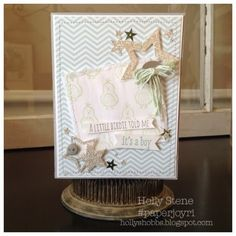 Stampin Up Hello Love Baby Card Star Framelits Stamping on Fabric Holly's Hobbies - Stamping, Baking & Photo Making