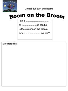 """""""Room on the Broom"""" Responding to Text includes a character analysis, a create your own character template and a word search. $2!"""