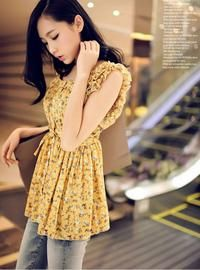 Yellow Floral Print Sleeveless Draped Waist Asian Fashion Blouse With Frills At Shoulders