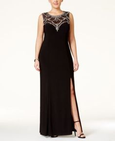 74aa019411097 Betsy   Adam Plus Size Embellished Illusion Sweetheart Gown Plus Prom  Dresses