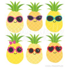 Cool Pineapples Cute Digital Clipart Commercial by JWIllustrations Pineapple Room, Cute Pineapple, Classroom Design, Classroom Themes, Pineapple Clipart, Hawaian Party, Summer Clipart, Ocean Themes, Preschool Crafts