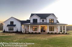 Farmhouse Plan comes to life in Tennessee with a pond in back - photos of house plan Farmhouse Floor Plans, Modern Farmhouse Exterior, Craftsman House Plans, New House Plans, Country House Plans, Dream House Plans, Modern House Plans, Small House Plans, Farmhouse Design