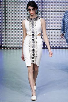 Holly Fulton Spring 2013 RTW. A daring contrast panel down the middle of a white dress. This will looks great on shapely women.