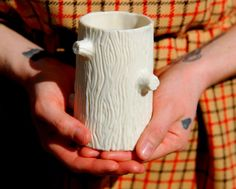 """This is near the the top of my """"Must Have"""" list: Sculptural Translucent Porcelain Tree Stump Mug"""