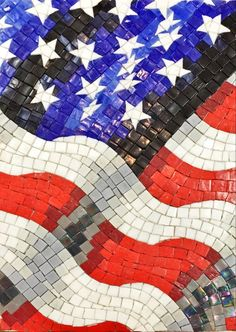 #MidAmericaTile will be closed on Friday and Saturday, in observation of the #IndependenceDay holiday. We will re-open Monday. We're already in the spirit of the 4th with this #flag #mosaic. #InnovativeLooks #patriotic  #red #white #blue #RedWhiteAndBlue #4thOfJuly #July4th