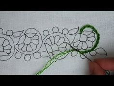 hand embroidery latest floral border line embroidery,modern hand embroidery Hand Embroidery Patterns Flowers, Border Embroidery Designs, Basic Embroidery Stitches, Silk Ribbon Embroidery, Crewel Embroidery, Embroidery Techniques, Cross Stitch Embroidery, Flower Line Drawings, Bordado Floral