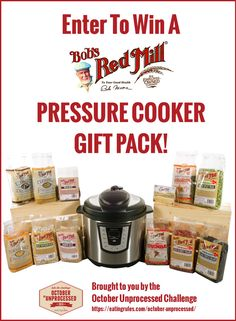 Enter to win this massive Bob's Red Mill gift pack: A selection of dried beans and whole grains, an electric pressure cooker to prepare all of them, and a $100 gift card!