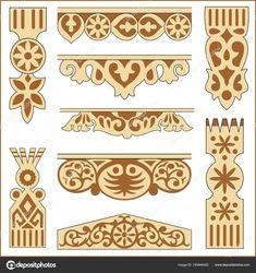Скачать - Векторная иллюстрация российского древние узоры и орнаменты по дереву — стоковая иллюстрация Dremel Carving, Wood Carving, Scroll Saw Patterns, Animal Design, Animal Print Rug, Wood Projects, Victorian, Ornaments, Drawings
