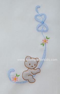 Shadow Work & Embroidery :: Babies :: Shadow Ribbon Bear