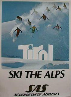 Vintage Airline Poster Tirol Ski the Alps SAS