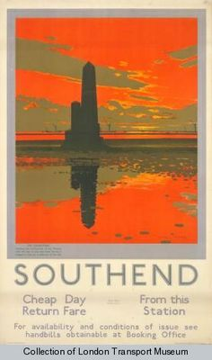 Southend; Crowstone Light, by Charles Pears, 1929 Published by Underground Electric Railways Company Ltd, 1929 Printed by Dangerfield Printing Company Ltd, Format: Double royal Dimensions: Width: 635mm, Height: 1016mm Reference number: 1983/4/2751