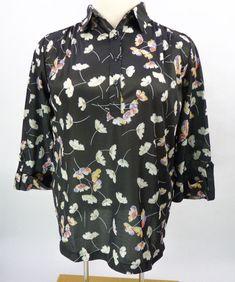 e7b8a6a9958 Vintage 70s Black Floral Tunic Top Soft Blouse Plus Size 1X Cuffs Colorful  NOS  MontgomeryWard
