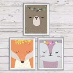 Woodland Wall Art Set of 3 Instant Download 11x14 by LlamaCreation