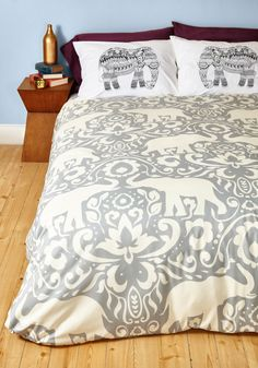 Trunk Beds Duvet Cover in Full/Queen. Though your sleeping quarters may not be stacked like they once were, theyre equally as exciting thanks to this swirling duvet cover! #grey #modcloth