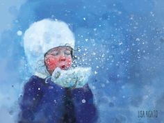 Snøfnugg | Lisa Aisato - nettbutikk Winter Illustration, Cute Illustration, Winter Painting, Diy Painting, Kitty Crowther, Figurative Kunst, Snow Scenes, Dream Art, Lisa