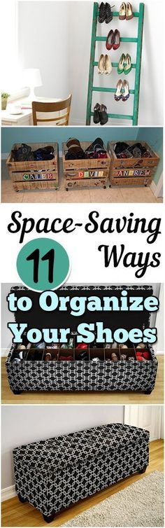 11 Ways to Organize Your Shoes and save space. The kids shoes are everywhere in my house! Great organization ideas for small space living, love these ideas!