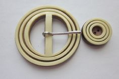 Large Vintage Celluloid on Wood Dress Buckle with Matching Button.  Matching Set.  OneWomanRepurposed       B350 by OneWomanRepurposed on Etsy