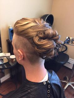 short hair shaved side undercut woven updo by Do's & Dye by Julie in West Hartford, CT When do I ord Shaved Undercut, Undercut Long Hair, Undercut Women, Undercut Hairstyles, Shaved Hair, Pompadour Hairstyle, Long Hair Wedding Styles, Short Hair Styles, Bridesmaid Hair