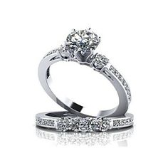 2.17 Ct Round D/VVS1 Diamond 14K White Solid Gold Solitaire Wedding Ring Sets by JewelryHub on Opensky