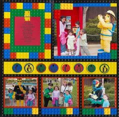 lego scrapbook layouts | like the lego paper for Legoland pictures