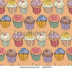 Vector seamless  background with the image of different cute cupcakes goodies, sweets, pastries, and with various fillings.?olored pattern.Doodle design elements for banner, business, card, poster. - stock vector