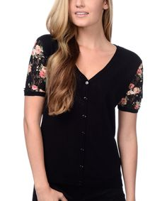 Look at this Black & Pink Floral Button-Up Top on #zulily today!