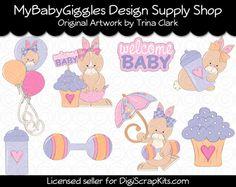 Baby Shower Bunnies Pastel Clip Art Digital www.mybabygiggles.etsy.com