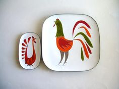 Mexican Modernist Copper Enamel Trays by Miguel Pineda