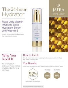 Hydrate your skin. Royal Jelly is food to your skin & benefits every skin type.