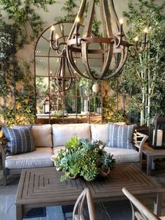 Garden room outdoor vignette design: Fall In Love With Succulents For Fall Living Room Decor Country, French Country Living Room, French Country Style, French Country Decorating, British Colonial Style, Country Bedrooms, Country Blue, Rustic French, Southern Style