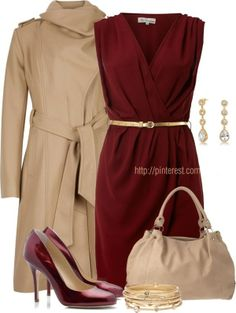 Crossover Belted Dress Shiny Pumps by casuality on Polyvore (I like both of these maroon outfits. I prefer the maroon dress on this pin http://www.pinterest.com/pin/425027283553714726/ but I adore the beige jacket and purse on the current pin much more than the other pin. I like both pairs of shoes.)
