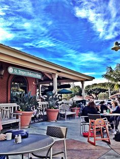 Bakery & Bistro -Encinitas California. Best place for a big breakfast with the fam on the coast. Our daughter loves to play in the fountain