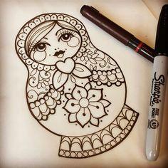 Really looking forward to tomorrow #tattoo #russiandoll #russiandolltattoo #matryoshka #matryoshkatattoo #ladytattooers #uktta