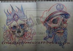 Skulls sketchs for tattoo by Xenija88.deviantart.com on @deviantART