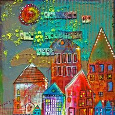 Layout: Welcome to the Neighborhood by Nathallie Kalbach ..I love her use of colors