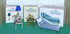 IDEAL-PETITE-PRINCESS-LOT-BLUE-CHAISE-LONGUE-TABLE-TEA-CART-LAMP-BOXES-1964