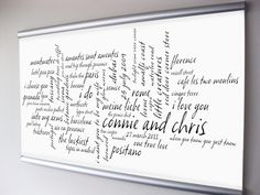 Wedding Anniversary Gift, Couple Personalized Art. Custom Word Art. READY to HANG 14x23.5 inch Canvas Art. Celebrate Your Life Together.. $160.00, via Etsy.