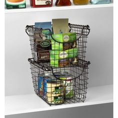 Spectrum Diversified Scoop Stacking Basket Size: H x W x D, Finish: Bronze Wire Basket Storage, Fabric Storage Bins, Wire Storage, Metal Baskets, Fabric Bins, Large Baskets, Smart Storage, Produce Baskets, Etagere Bookcase
