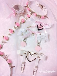 Pastel Goth Creepyeha harness set with pink roses and white leather.