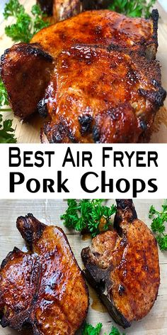 This Air Fryer Pork Chops is really juicy, tender and so delicious with a few simple ingredients and just 12 minutes to make it! These air fryer pork chops are perfect for your dinner every day of the week. Food Recipes For Dinner, Food Recipes Keto Air Fryer Recipes Low Carb, Air Fryer Recipes Breakfast, Air Fryer Dinner Recipes, Easy Dinner Recipes, Easy Meals, Easy Recipes, Healthy Recipes, Pork Chop Recipes, Chicken Recipes