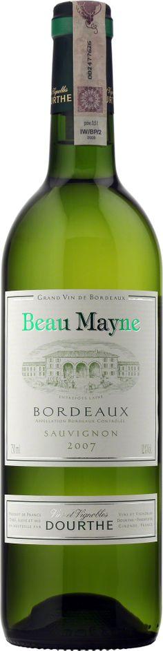 Dourthe Beau Mayne Bordeaux A.O.C. Blanc Beau Mayne zachwyca jasną, cytrynowo-zielonkawą barwą i delikatnym, owocowo-kwiatowym bukietem. Świeże i eleganckie, ma żywy, harmonijny finisz. #Bordeaux #Wino #Winezja #SauvignonBlanc Saint Emilion, Sauvignon Blanc, Bottle, Flask, Jars