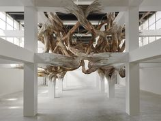 Architectural Columns at the Palais de Tokyo Explode into Organic Forms wood installation architecture. By Henrique Oliveira Organic Sculpture, Tree Sculpture, Organic Forms, Organic Art, Architectural Columns, Architectural Drawings, Art Du Monde, Instalation Art, Back To Nature
